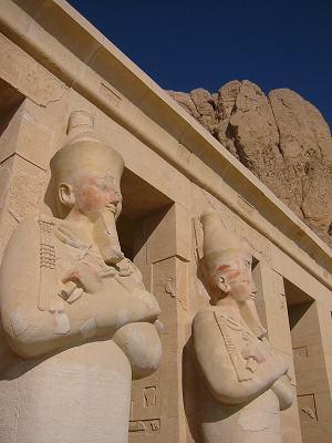 El-Deir El-Bahri Entrance Statues - Close View