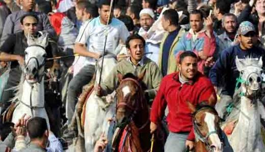 Baton & metal bar wielding paid thugs on horses