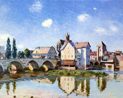 Village Bridge Oil Painting